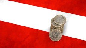 Un mucchio delle monete di Bitcoin sta sulla bandiera dell'Austria 3d rendono illustrazione vettoriale