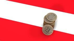 Un mucchio delle monete di Bitcoin sta sulla bandiera dell'Austria 3d rendono royalty illustrazione gratis