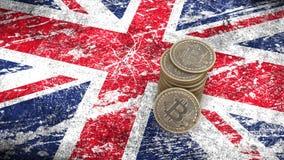 Un mucchio delle monete di Bitcoin sta sulla bandiera della Gran-Bretagna 3d rendono illustrazione vettoriale