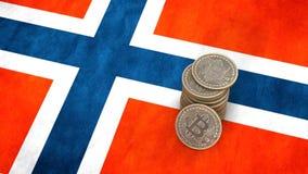 Un mucchio delle monete di Bitcoin sta sulla bandiera della Norvegia 3d rendono illustrazione vettoriale