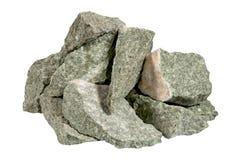 Un mucchio delle pietre isolate su fondo bianco Fotografie Stock