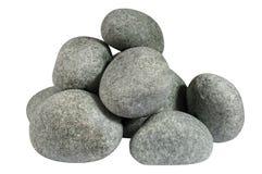 Un mucchio delle pietre rotonde isolate su fondo bianco Immagine Stock