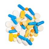 Un mucchio delle pillole, delle compresse e delle capsule differenti Vista superiore Fotografia Stock Libera da Diritti