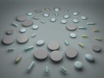 Un mucchio delle pillole e delle compresse immagini stock libere da diritti