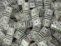 Un mucchio di 100 batuffoli della banconota in dollari Fotografie Stock Libere da Diritti