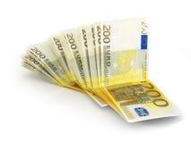 Un mucchio di 200 euro note Fotografie Stock Libere da Diritti