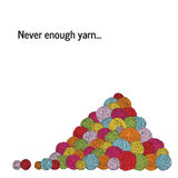 Un mucchio di filato Molte palle del filato Insegna quadrata Illustrazione Vettoriale