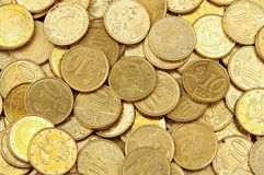 Un mucchio di 10 monete dell'euro dei centesimi Fotografia Stock Libera da Diritti