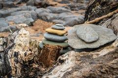 Un mucchio di pietra su un tronco di albero fotografia stock
