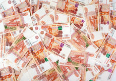 Un mucchio di 5000 rubli russe Fotografia Stock Libera da Diritti