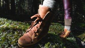 Un muchacha-fotógrafo sano activo del inconformista con una cámara en sus manos camina a través del primer del bosque de un pie almacen de video