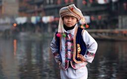 Un muchacho con el paño nacional Imágenes de archivo libres de regalías