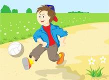 Un muchacho con la bola. stock de ilustración