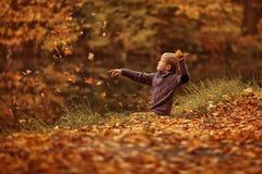Un muchacho con las hojas Fotos de archivo libres de regalías