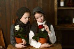 Un muchacho con una muchacha en un vestido del vintage que se sienta en un escritorio viejo Mirada de las flores Imágenes de archivo libres de regalías