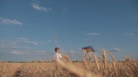 Un muchacho corre a través del campo en la puesta del sol con una cometa que vuela sobre su cabeza Un sueño del chidhood Embroma  metrajes
