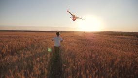 Un muchacho corre a través del campo en la puesta del sol con una cometa que vuela sobre su cabeza Un sueño del chidhood Embroma  almacen de video