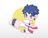 Un muchacho en el ejemplo uniforme del retroceso del salto del Taekwondo que hace libre illustration