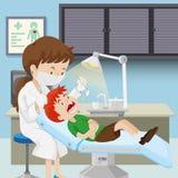 Un muchacho en la clínica dental stock de ilustración