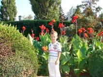 Un muchacho está en un jardín Imagen de archivo