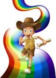 Un muchacho joven que corre con un papel enrollado libre illustration