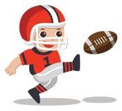 Un muchacho lindo que juega a fútbol americano ilustración del vector