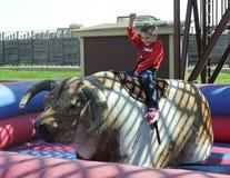 Un muchacho monta una Bull mecánica, corrales de Fort Worth Imagen de archivo