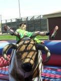 Un muchacho monta una Bull mecánica, corrales de Fort Worth Imagen de archivo libre de regalías
