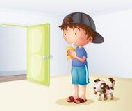 Un muchacho que bebe al lado de su perro stock de ilustración