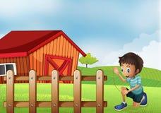 Un muchacho que celebra una cuerda en la granja libre illustration