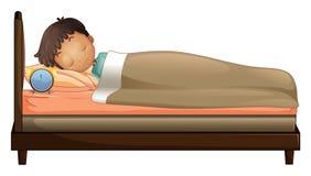 Un muchacho que duerme con un despertador libre illustration