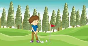 Un muchacho que juega a béisbol stock de ilustración