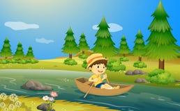 Un muchacho que monta un barco stock de ilustración