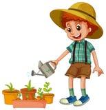 Un muchacho que riega las plantas stock de ilustración