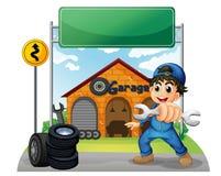 Un muchacho que sostiene una herramienta cerca del letrero vacío delante del GA ilustración del vector