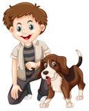 Un muchacho y un perro stock de ilustración