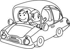 Un muchacho y una muchacha en coche Fotos de archivo libres de regalías