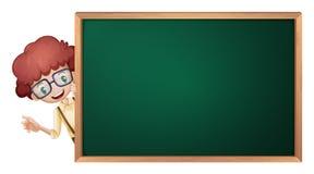 Un muchacho y una tarjeta verde Imagen de archivo