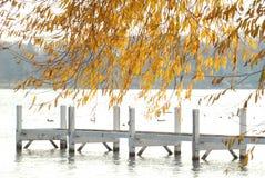 Un muelle vacío del lago del otoño con el árbol del oro Fotos de archivo