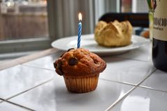 Un muffin di compleanno con la candela immagini stock
