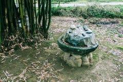 Un mulino di pietra manuale antico di abbandono in campagna in Cina fotografia stock