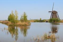 Un mulino a vento che affrontano una casa e un'isola degli alberi con un uccello annidano angolo inferiore della priorità alta su Fotografie Stock