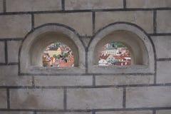 Un mur dans le château de Cesky Krumlov Image stock
