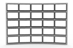 Un mur de TV avec un écran blanc Photo stock