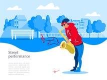 Un musicien de rue, une illustration de Vector de saxophoniste illustration libre de droits