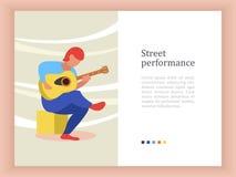 Un musicista della via, un'illustrazione di Vector del chitarrista royalty illustrazione gratis