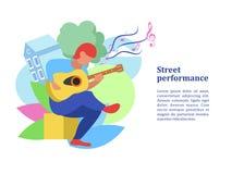 Un musicista della via, un'illustrazione di Vector del chitarrista illustrazione vettoriale