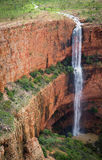 Un-named Dual Drop Waterfall, Cockburn Range, Kimberley. In the Wet Season, there are at least 50 un-named waterfalls hidden away inside and behind the much royalty free stock photos