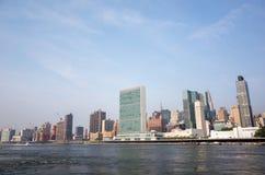 UN Narody Zjednoczone kwater głównych kompleks sk i graniczący Manhattan Obrazy Stock