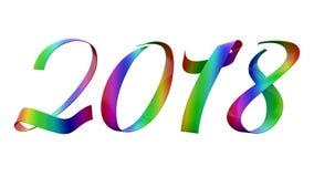 Un nastro metallico lucido variopinto di 2018 cifre del nuovo anno con il titolo di pendenza di RGB dello specchio illustrazione di stock